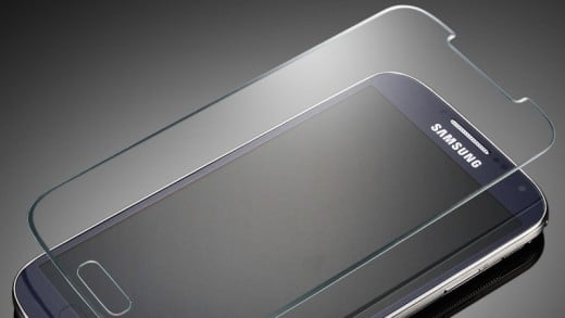 A glass screen protector safeguards the iPhone screen if it accidentally slips out of hand.