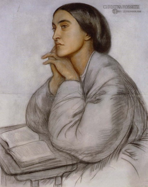 Portrait of Christina Rossetti Dante Gabriel Rossetti  circa 1866 Colored chalk on blue-gray paper