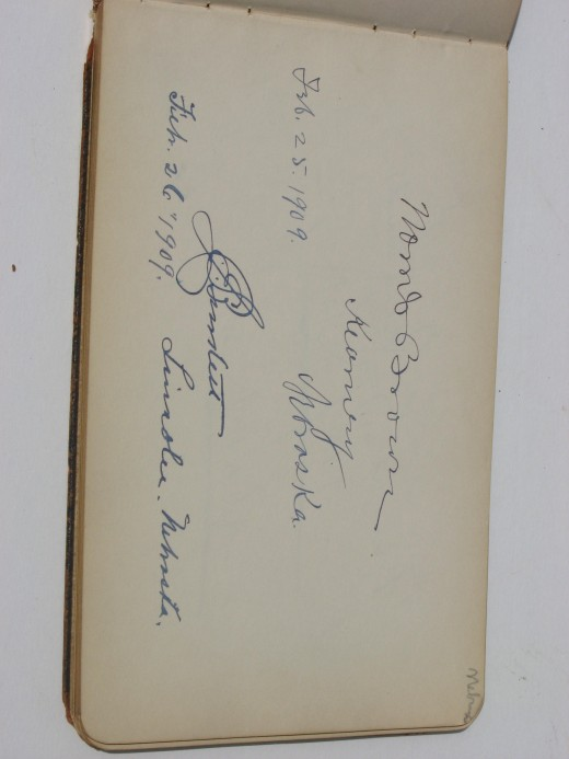 Norris Browns signature on the Nebraska page