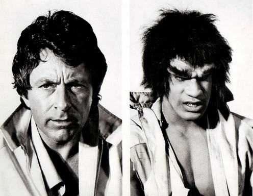 "Bill Bixby as ""David Banner,"" and Lou Ferrigno as The Incredible Hulk from the television special that preceded the regular television series."