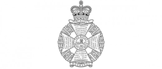 The Rifles belt buckle badge with that space for a new battle honour (lower right beside the stem of the cross)