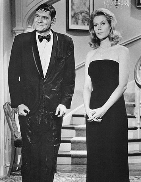 "Dick York ""Darrin Stephens,""  and  ""Samantha Stephens"" Elizabeth  Montgomery in publicity shot for Bewitched."