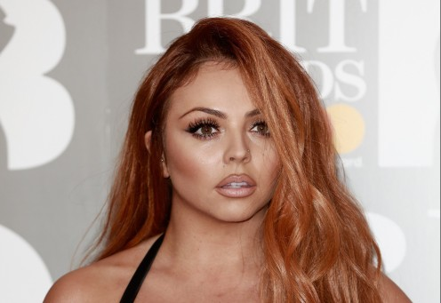 Singer Jesy Nelson is seen here at the BRIT Awards in London in February 2017. her hair is lighter touch of brown as this is one of the best photos of Jesy that I have seen!