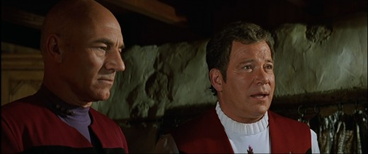 Picard and Kirk onscreen together for the first and last time.