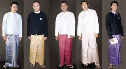 """Men wear skirts that are called """"""""longyi"""" and it measures almost 7 feet in length."""