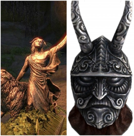 And Clavicus Vile, the Daedric Prince of Wishes. To the right is his artifact, the magical Masque of Clavicus Vile that makes the wearer a more persuasive speaker, which is similar in appearance to the mask of Pan, the Roman equivalent of Clavicus.