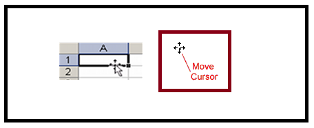 MS Excel four-point cursor