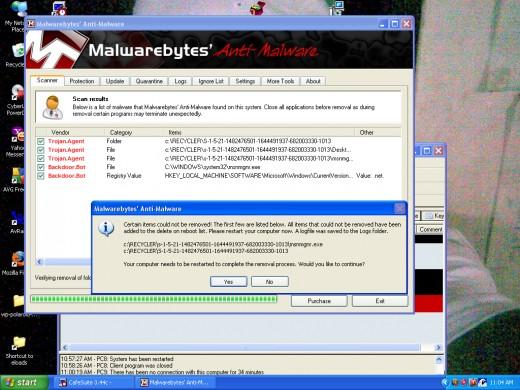 Malwarebytes Detected Trojan and Backdoor.bot