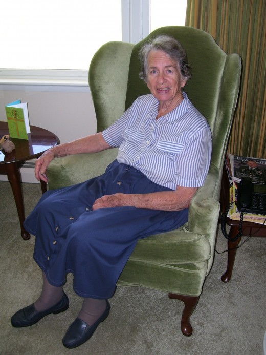 Mama sitting in her favorite armchair in the living room just before the tragedy.