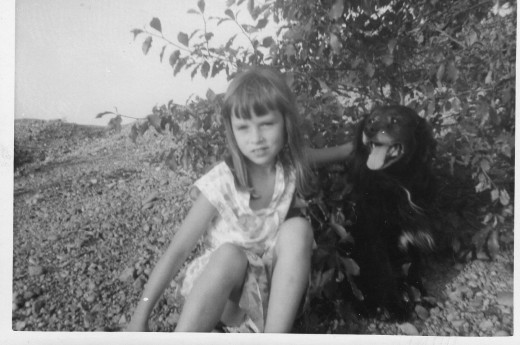 Resa and our family dog, Lucky, at the top of Mountain Hill Road...so many memories.