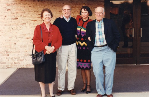 A photo I took of Mama with her brothers, Bobby and Buddy, and her sister, Nancy, at our Thanksgiving family reunion at Willow Valley in Lancaster, Pennsylvania.  Buddy passed away in 1999.