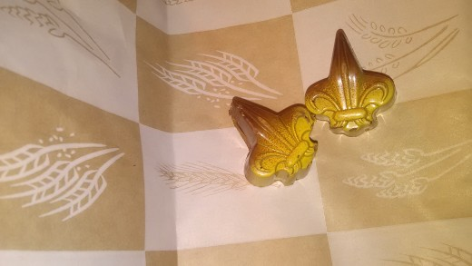 Banana's Foster truffles, Fleur De Lis shaped.