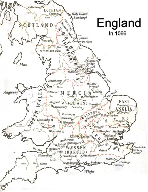 England's Earldoms as they were in 1066