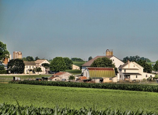 A typical Amish farm in Lancaster County, Pennsylvania