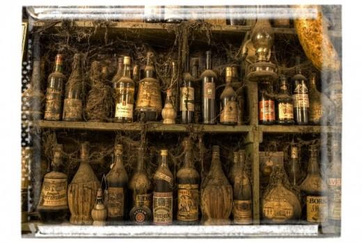 vintage pirate rum bottles from movie set of Treasure Island