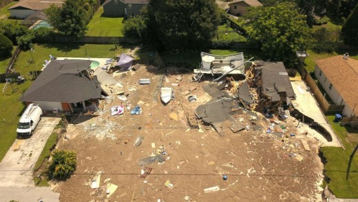 Another sinkhole opened up last week in Florida, this one in Land O' Lakes where it swallowed two homes and a boat.