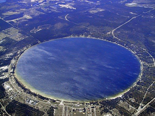 A common feature of lakes formed from sinkholes is their nearly perfectly round shape, like Kingsley Lake.