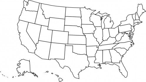 This is just a blank map of the United States with none of the state names filled in but it still shows that the United States does exist.
