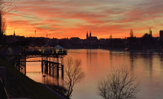 Sunset at Rhine Bank, Basel, Switzerland.