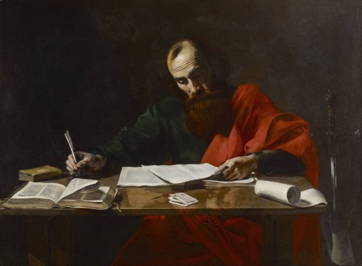 """""""Saint Paul Writing His Epistles,"""" painted between 1618 and 1620, attributed to Valentin de Boulogne."""