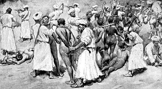 Arab slave traders collecting African Women slaves.