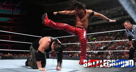 Shinsuke Nakamura v Baron Corbin. Photo: WWE
