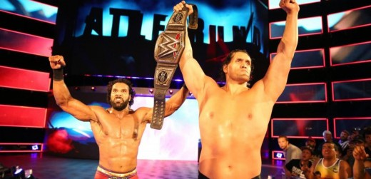Jinder Mahal retains with help from The Great Khali. Photo: WWE