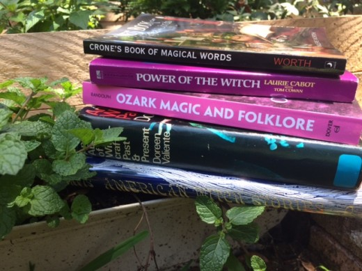 Some of my favorite folklore books include two shown here - Ozark Magic and Folklore and American Witch Stories.