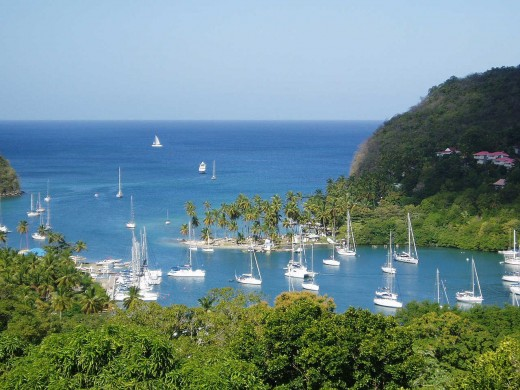 Castries harbor in St. Lucia is beautiful during good weather.