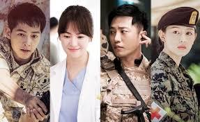 From left to right: Song Joong-ki as Captain Yoo Si-jin, Song Hye-kyo as Dr. Kang Mo-yeon, Jin Goo as Master Sergeant Seo Dae-young and Kim Ji-won as army surgeon Yoon Myung-ju