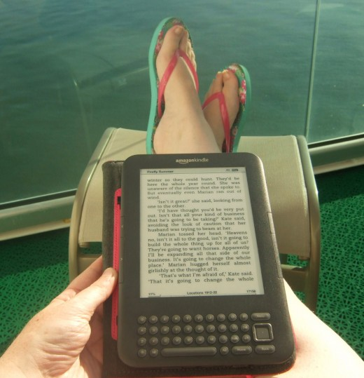 Reading the Kindle on a cruise
