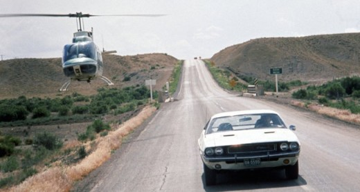 The film's true star is the 1970 Dodge Challenger R/T 440 Magnum, seen here on the right