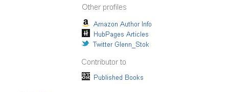 Figure 2: List of links in Google Profile that point to author's other profiles and content