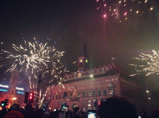 Copenhagen City Hall during New Years. People were shooting fireworks everywhere; it almost felt like I was in a war zone. Watch your head!