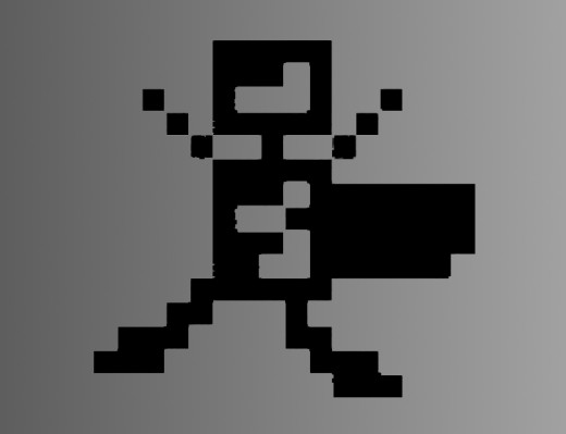 Here is a pixel man on a gradient backdrop. Simple and easy to create.