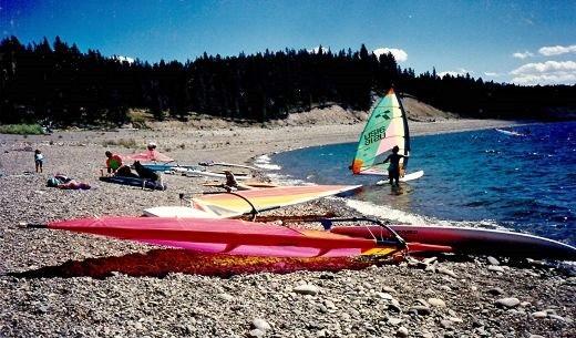 Windsurfing boats on Jackson Lake