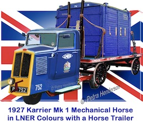 A model PCH 1927 Karrier mechanical horse in LNER livery. These vehicles were furnished with a  narrow, tapered cab and engine housing