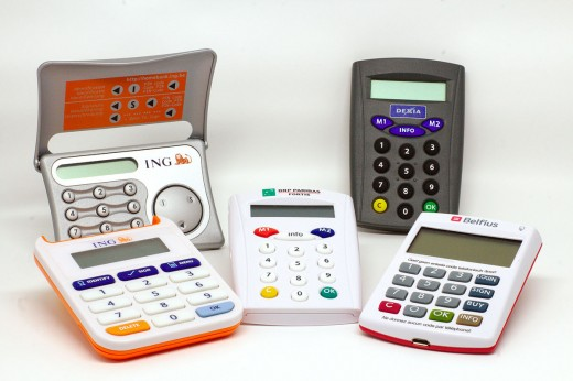 Examples of different security token devices used for online banking. The newer models are in the foreground.