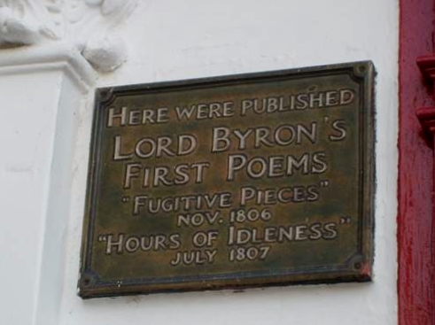 Plaque on a building in Newark-on-Trent, formerly a printers workshop