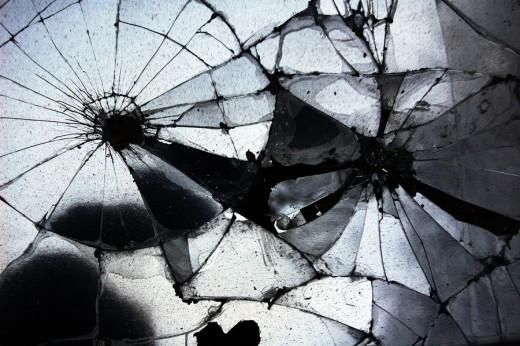 A broken mirror.