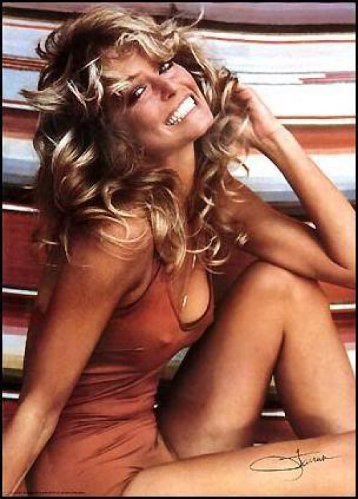 The famous Farrah red bathing suit poster