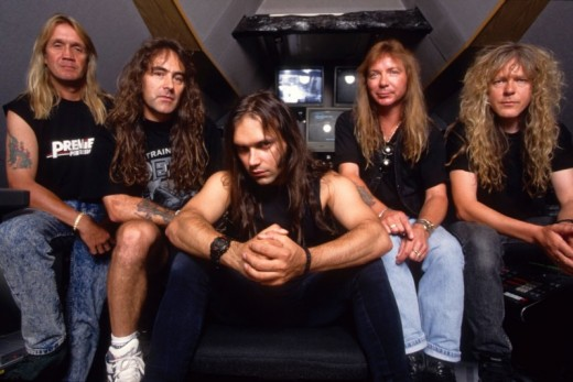 "Iron Maiden lineup circa ""The X Factor,"" L-R: Nicko McBrain, Steve Harris, Blaze Bayley, Dave Murray, Janick Gers"