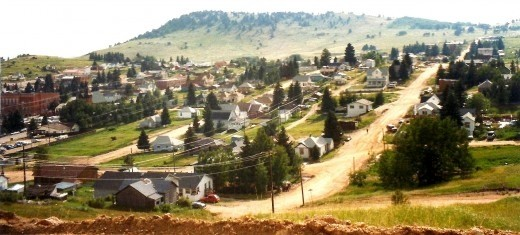 Looking down upon Cripple Creek from the hill overlooking the town.  Except for the main street most other streets are unpaved.