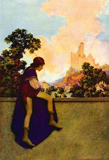 """The Knave of Hearts Watching Lady Violetta Depart"" by Maxfield Parrish"