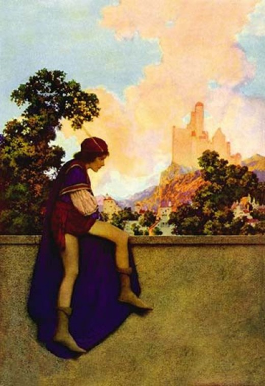"""""""The Knave of Hearts Watching Lady Violetta Depart"""" by Maxfield Parrish"""
