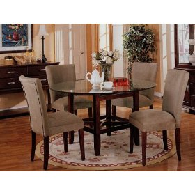 Round glass dining table set.