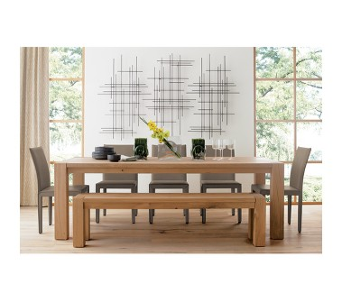 Large casual contemporary oak dining table set by Crate and Barrel.