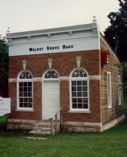 Exterior of Walnut Grove bank building