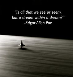 """Is all that we see and seem, but a dream within a dream? ~Edgar Allen Poe"