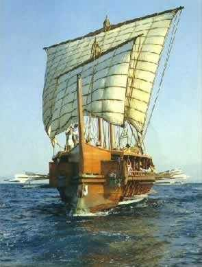 Typical sailing vessel of Ancient Greece.